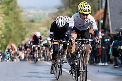 Emma Johansson leads the second time up Roderberg at Dwars door de Westhoek 2016. A 127km road race starting and finishing in Boezinge, Belgium on 24th April 2016.
