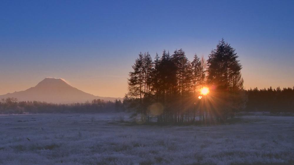 Mount Rainier sunrise in winter HDR color