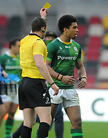 Rugby Union - 2020 / 2021 European Rugby Challenge Cup - Round of 16 - London Irish vs Cardiff - Brentford Community Stadium<br /> <br /> Josh Adams of London Irish receives the yellow card from referee, <br /> <br /> Credit  COLORSPORT/ANDREW COWIE