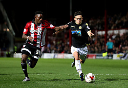 Zach Clough of Bolton Wanderers takes on Josh Clarke of Brentford - Mandatory by-line: Robbie Stephenson/JMP - 05/04/2016 - FOOTBALL - Griffin Park - Brentford, England - Brentford v Bolton Wanderers - Sky Bet Championship