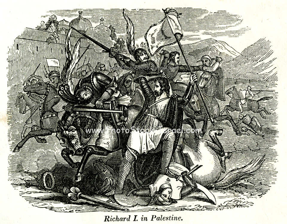 Richard I in Palestine from the book History of England : with separate historical sketches of Scotland, Wales, and Ireland; from the invasion of Julius Cæsar until the accession of Queen Victoria to the British throne. By Russell, John, A. M., Published in Philadelphia by Hogan & Thompso in 1844