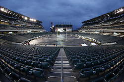 A General View of Lincoln Financial Field with a tarp covering the field before the NFL game between the Chicago Bears and the Philadelphia Eagles on Sunday, December 22nd 2013 in Philadelphia. This image was taken with a fisheye lens. (Photo by Brian Garfinkel)