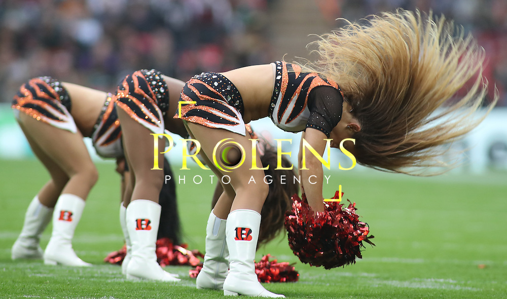 NFL International Series 2016 Washington Redskins @ Cincinnati Bengals 30th OCT 2016<br /> <br /> The Bengals cheerleaders perform  during game 17 of the NFL International Series between the  Washington Redskins and Cincinnati Bengals, From Wembley Stadium, London.<br /> <br /> Pic Micthell Gunn / PLPA? ProLens Photo Agency.<br /> Sunday 30 October 2016