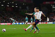 Doninic Solanke of England U21's shoots at goal during the U21 International match between England and Germany at the Vitality Stadium, Bournemouth, England on 26 March 2019.