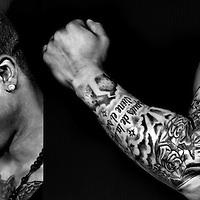 Nederland, Rotterdam, 04-03-2013.<br /> Tattoo serie.<br /> Dwayne Kemp, honkballer, met zijn tattoo.<br /> Foto : Klaas Jan van der Weij