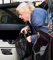© Licensed to London News Pictures. 16/07/2018. London, UK. Former Foreign Secretary BORIS JOHNSON is seen looking disheveled at his London home on the day former former education secretary Justine Greening has called for a second referendum on the EU. Foreign secretary Boris Johnson and Brexit secretary David Davis resigned in protest over Number 10 plans for Brexit. Photo credit: Ben Cawthra/LNP