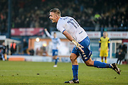 Tom Pope (Bury) turns to run and celebrate scoring with his team mates, having scored Bury's second goal of the game and given them the lead during the EFL Sky Bet League 1 match between Bury and Oxford United at the JD Stadium, Bury, England on 17 December 2016. Photo by Mark P Doherty.