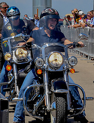 June 3, 2017 - Boone, Iowa, U.S - Senator Joni Ernst Reupblican from Iowa  rides her motorcycle into her  3rd annual Roast and Ride charilty benefit at the Central Iowa Expro center in Boone Iowa, 3rd June, 2017. (Credit Image: © Mark Reinstein via ZUMA Wire)