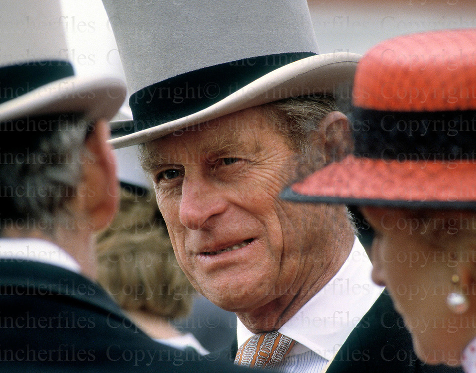 Prince Philip,The Duke of Edinburgh seen at the Epsom Derby races in June 1986. Photograph by Terry Fincher