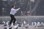 Person practicing morning Tai Chi at Spreckels Lake in Golden Gate Park, San Francisco, California; NO COMMERCIAL USE