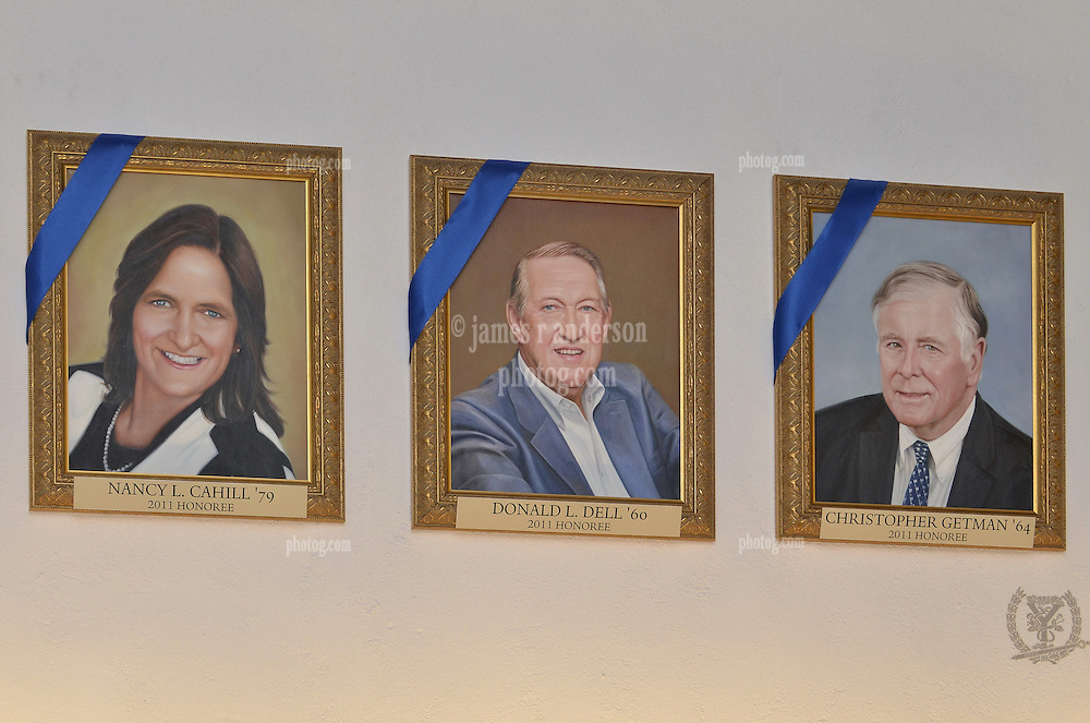 Blue Leaders Cahill, Dell & Getman Portraits, Yale University Athletics. George H.W. Bush Lifetime of Leadership Award Honoree Paintings in the Kiphuth Trophy Room, Payne Whitney Gymnasium.