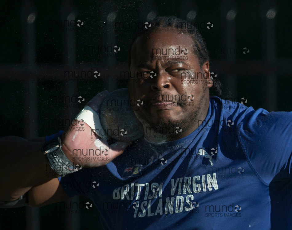 Toronto, ON -- 10 August 2018: Eldred Henry (British Virgin Islands), gold in shot put, championship record of 21.68m at the 2018 North America, Central America, and Caribbean Athletics Association (NACAC) Track and Field Championships held at Varsity Stadium, Toronto, Canada. (Photo by Sean Burges / Mundo Sport Images).