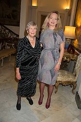 Left to right, ANNA DEL CONTE and KAREN TERRACCIANO wife of the Italian Ambassador at a reception in honour of Anna del Conte held at The Italian Emabssy, Grosvenor Square, London on 9th November 2015.
