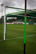 A view of the goals painted in club colours at The Oval, Belfast, pictured before Glentoran hosted city-rivals Cliftonville in an NIFL Premiership match. Glentoran, formed in 1892, have been based at The Oval since their formation and are historically one of Northern Ireland's 'big two' football clubs. They had an unprecendentally bad start to the 2016-17 league campaign, but came from behind to win this fixture 2-1, watched by a crowd of 1872.