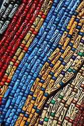 Painted wooden beads on stall in tourist market; Havana; Cuba,