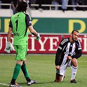 Besiktas's goalkeeper Rustu RECBER (L) and Ibrahim KAS (R) during their Turkish superleague soccer match Besiktas between Sivasspor at BJK Inonu Stadium in Istanbul Turkey on Saturday, 24 April 2010. Photo by TURKPIX