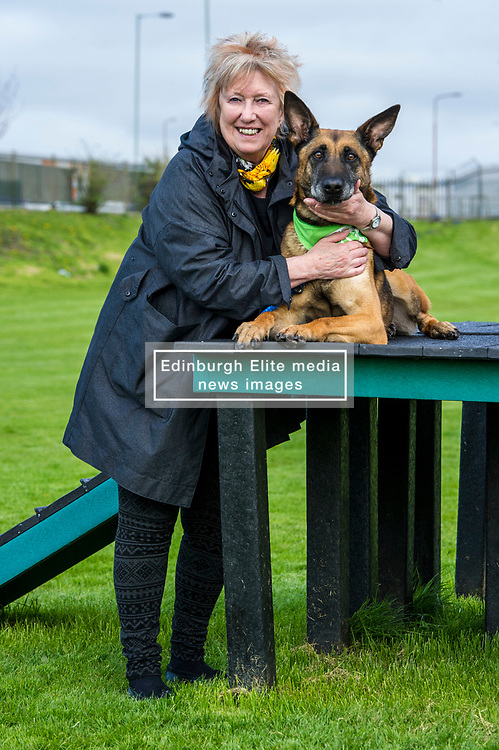 Pictured: Christine Grahame and Sasha<br /> <br /> SNP MSP Christine Grahame was joined at Edinburgh Cat and Dog home by animal welfare organisations and eight-year-old Dutch Shepherd Sasha to highlight her members bill to curb irresponsible dog breeding and buying. <br /> Ger Harley   EEm 4 May 2018