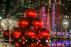 November 19, 2018 - New York, NEW YORK, UNITED STATES - Christmas decoration is seen at the Radio City Hall New York house of shows on the evening of Monday, 19. (Credit Image: © William Volcov/ZUMA Wire)