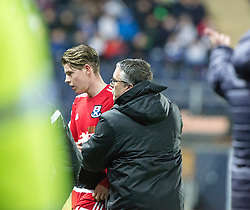 Ayr United's Kevin Nisbett gets subbed as Ayr United's manager Ian McCall looks for Ayr United's Alan Forest. Falkirk 1 v 1 Ayr United, Scottish Championship game played 14/1/2017at The Falkirk Stadium .
