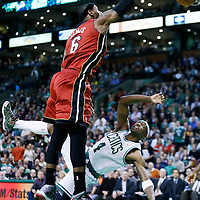 18 March 2013: Miami Heat small forward LeBron James (6) dunks over Boston Celtics shooting guard Jason Terry (4) during Miami Heat 105-103 victory over the Boston Celtics at the TD Garden, Boston, Massachusetts, USA.