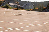Empty parking lot during the autumn off season at Paradise Inn, built in 1916 and recently renovated in Mount Rainier National Park, WA, USA.