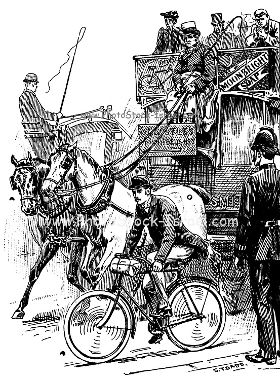 City cyclist 1896 from 'Cycling' by The right Hon. Earl of Albemarle, William Coutts Keppel, (1832-1894) and George Lacy Hillier (1856-1941); Joseph Pennell (1857-1926) Published by London and Bombay : Longmans, Green and co. in 1896. The Badminton Library [Not much has changes in the last 150 years]