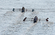 London, Great Britain.  Early competition, as N0. 56, Leander Club B close the gap on No.55. Molesey BC  2015 Women's Head of the River Race, Chiswick to Putney, Championship Course, River Thames.  England. <br /> Saturday  14/03/2015 <br /> <br /> [Mandatory Credit; Peter Spurrier/Intersport-images]