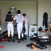 Jockey's prepare for the next race in the jockey room during a day at the Races at the Cromwell Race meeting, Cromwell, Central Otago, New Zealand. 27th November 2011. Photo Tim Clayton