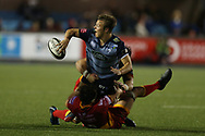 Jarrod Evans of Cardiff Blues.Guinness Pro14 rugby match, Cardiff Blues v Dragons at the Cardiff Arms Park in Cardiff, South Wales on Friday 6th October 2017.<br /> pic by Andrew Orchard, Andrew Orchard sports photography.