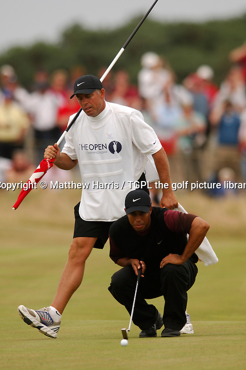 Tiger WOODS (USA) and caddie Steve Williams during fourth round The Open Championship 2005,St Andrews Old Course,St Andrews,Fife,Scotland.