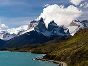 View of Lago Pehoe and Torres del Paine National Park, Chile.