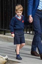 The Duke of Cambridge and Prince George arriving at the Lindo Wing at St Mary's Hospital in Paddington, London. Photo credit should read: Matt Crossick/EMPICS Entertainment