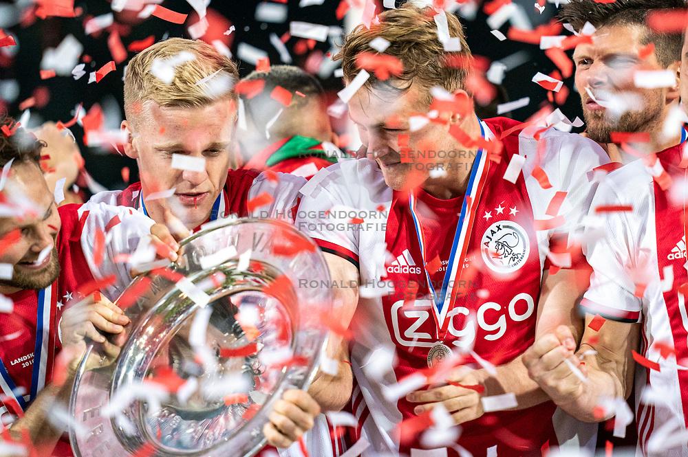 15-05-2019 NED: De Graafschap - Ajax, Doetinchem<br /> Round 34 / It wasn't really exciting anymore, but after the match against De Graafschap (1-4) it is official: Ajax is champion of the Netherlands / Donny van de Beek #6 of Ajax, Matthijs de Ligt #4 of Ajax, Klaas Jan Huntelaar #9 of Ajax