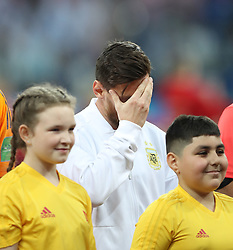 NIZHNY NOVGOROD, June 21, 2018  Lionel Messi (C) of Argentina reacts prior to the 2018 FIFA World Cup Group D match between Argentina and Croatia in Nizhny Novgorod, Russia, June 21, 2018. (Credit Image: © Wu Zhuang/Xinhua via ZUMA Wire)