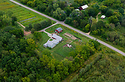 Aerial photograph of One Seed Farm near Madison, Wisconsin, USA.