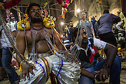 Jan. 24, 2016 - Kuala Lumpur, Batu Caves, Malaysia - <br /> <br /> Thaipusam Festival in Kuala Lumpur<br /> <br /> To mark this day, Hindus devotees pierce different part of their body with various metal skewers and carry pots of milk on their heads along couple of kilometers to celebrate the honor of Lord Subramaniam (Lord Murugan) in the Batu Caves, one of the most popular shrine outside India and the focal point to celebrate the Thaipusam Festival in Malaysia..Thaipusam is an annual Hindu festival, observed on the day of the full moon during the Tamil month of Thai, it is also a public holiday for many people. <br /> ©Exclusivepix Media
