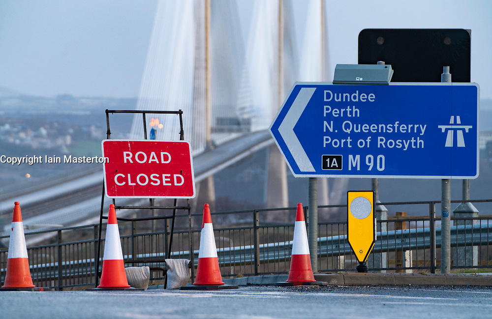 South Queensferry, Scotland, UK. 11 February, 2020.  Queensferry Crossing bridge closed to all traffic in both directions because of danger of falling ice from overhead supporting cables. Several cars have been damaged by falling ice during Storm Ciara.Traffic is being diverted via Kincardine Bridge.  Iain Masterton/Alamy Live News.