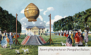 First ascent of Mongolfier hot air balloon, 21 November 1783.  From chromolithgotraph postcard published c1910.