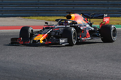 November 3, 2019, Austin, TX, USA: AUSTIN, TX - NOVEMBER 03: Red Bull Racing Honda driver Max Verstappen (33) of Netherlands enters turn 11 during the F1 - U.S. Grand Prix race at Circuit of The Americas on November 3, 2019 in Austin, Texas. (Photo by Ken Murray/Icon Sportswire) (Credit Image: © Ken Murray/Icon SMI via ZUMA Press)