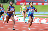 Dina ASHER-SMITH of Great Britain & NI and Shelly-Ann FRASER-PRYCE of Jamaica in the Women's 200m Final during the Muller Grand Prix at Alexander Stadium, Birmingham, United Kingdom on 18 August 2019.