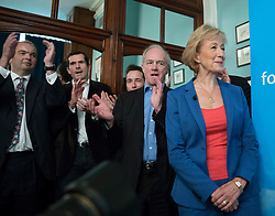 © Licensed to London News Pictures. 04/07/2016. London, UK. Conservative MP Andrea Leadsome is applauded by supporters as she launches her campaign for the leadership of the Conservative party. Photo credit: Peter Macdiarmid/LNP