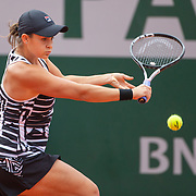 PARIS, FRANCE June 08.  Ashleigh Barty of Australia in action against Marketa Vondrousova of the Czech Republic on Court Philippe-Chatrier during the Women's Singles Final match at the 2019 French Open Tennis Tournament at Roland Garros on June 8th 2019 in Paris, France. (Photo by Tim Clayton/Corbis via Getty Images)