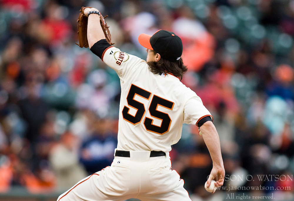 April 11, 2010; San Francisco, CA, USA;  San Francisco Giants starting pitcher Tim Lincecum (55) during the first inning against the Atlanta Braves at AT&T Park.  San Francisco defeated Atlanta 6-3.
