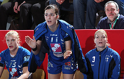 Barbara Varlec, Sanja Damjanovic and Spela Cerar at EHF Champions league handball match in Group II between RK Krim Mercator and Gyori Audi Eto KC, on February 7, 2009, in Kodeljevo, Ljubljana, Slovenia. Gyori won 35:31. (Photo by Vid Ponikvar / Sportida)