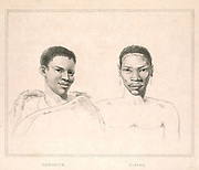 Hendrik left and Bantu (Here as Caffer) from the book Sketches representing the native tribes, animals, and scenery of southern Africa : from drawings made by the late Mr. Samuel Daniell. by Daniell, Samuel, 1775-1811; Daniell, William, 1769-1837; Barrow, John, Sir, 1764-1848; Somerville, William, 1771-1860; Printed by Richard and Arthur Taylor : Published by William Daniell, and William Wood, London, 1820