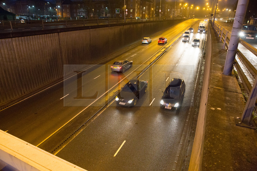 © Licensed to London News Pictures. 18/12/2017. Birmingham, UK. The scene this morning in Lea Bank Underpass, Edgbaston, where six people lost their lives in a road traffic accident.  Pictured, the underpass was opened for early Monday morning traffic. Photo credit: Dave Warren/LNP