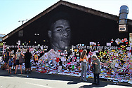 People continue to come and add positive messages to the Marcus Rashford mural at Withington, Manchester, United Kingdom on 17 July 2021.