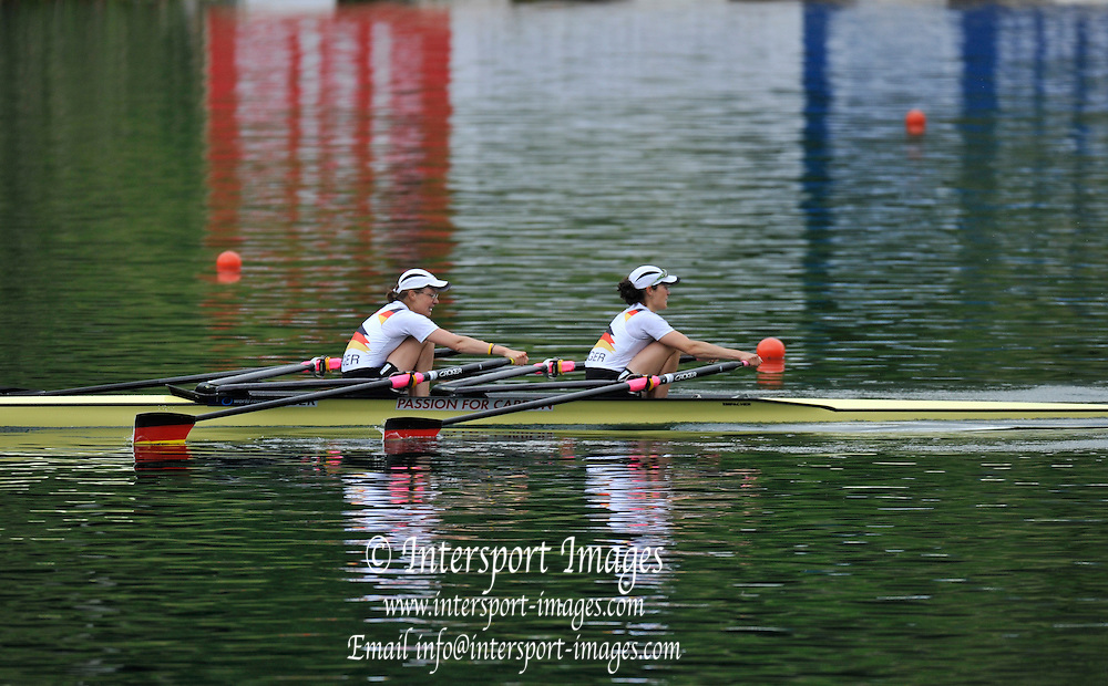 Lucerne, SWITZERLAND. GER LW2X.  Qualifying for the London Olympic Regatta...2012 FISA Olympic Qualifying Regatta on the Rotsee Rowing Course,  Tuesday  22/05/2012  [Mandatory Credit Peter Spurrier/ Intersport Images]