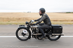 Revival Cycle's Stefan Hertel riding one of Bryan Bossier's 1925 Brough Superior SS100's during the Motorcycle Cannonball coast to coast vintage run. Stage 11 (248-miles) from Billings to Great Falls, MT. Tuesday September 18, 2018. Photography ©2018 Michael Lichter.