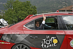 July 19, 2017 - La Mure / Serre-Chevalie, France - SERRE CHEVALIER, FRANCE - JULY 19 : French president Emmanuel Macron  during stage 17 of the 104th edition of the 2017 Tour de France cycling race, a stage of 183 kms between La Mure and Serre Chevalier on July 19, 2017 in Serre Chevalier, France, 19/07/2017 (Credit Image: © Panoramic via ZUMA Press)